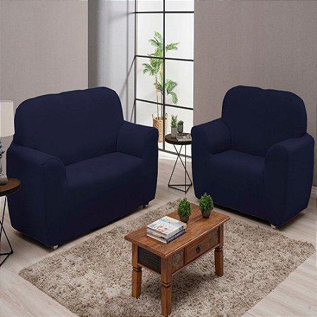 Capa De Sofá Lisa 3 e 2 Lugares Coladinha Azul Marinho