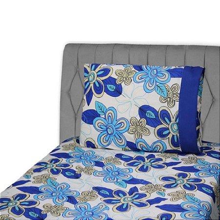 Jogo de Lençol Primavera Lika Solteiro 2 peças Floral Azul