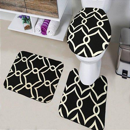 Jogo de Banheiro Tapete Tecil Pop 3 peças Arabic Preto
