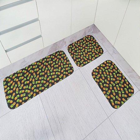 Jogo de Tapete de Cozinha Tecil Pop 3 peças Abacaxi