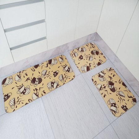 Jogo de Tapete de Cozinha Tecil Pop 3 peças Xícara