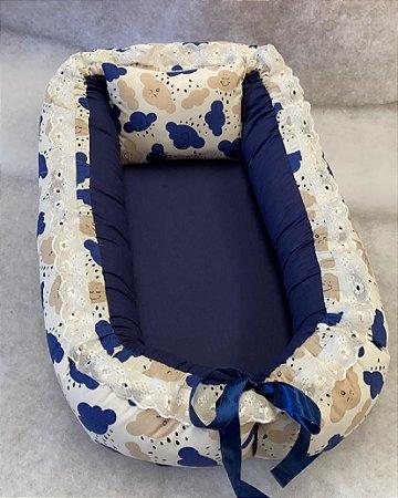 Ninho de Bebe Ninho Redutor de Berço Nuvem Azul Marinho