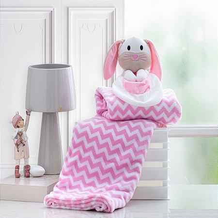 Cobertor Bebe Manta Soft Bebê Naninha Pelúcia Coelho Rosa