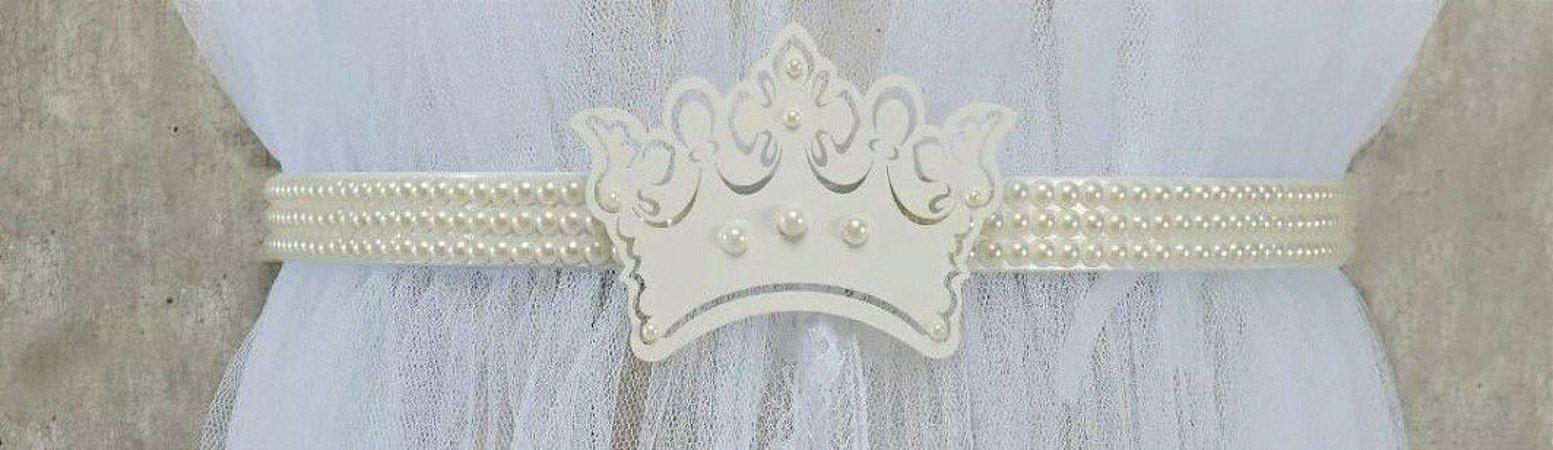 Dossel Coroa Princesa e Pérolas com Mosquiteiro em Tule R49