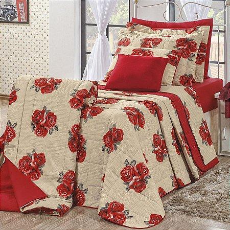 Kit Cobre Leito Monterey Solteiro 2 Peças  Dalia Flores Vermelhas