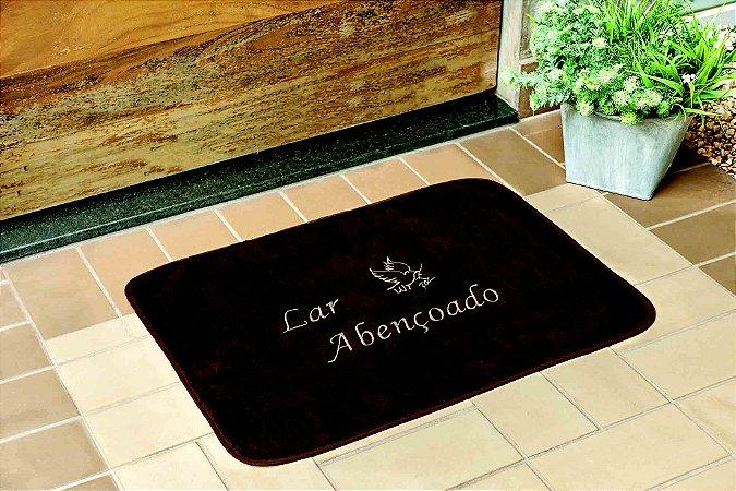 Tapete Retangular Lar Abençoado Café Base Feltro Antiderrapante