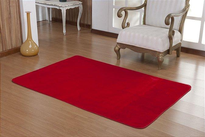 Tapete Liso Vermelho 1,50m x 1,00m Base Feltro Antiderrapante