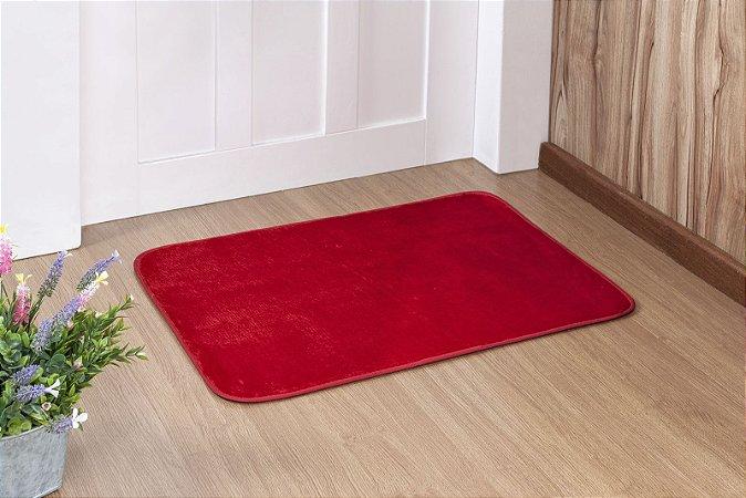 Tapete Liso Vermelho 0,68cm x 0,48cm Base Feltro Antiderrapante