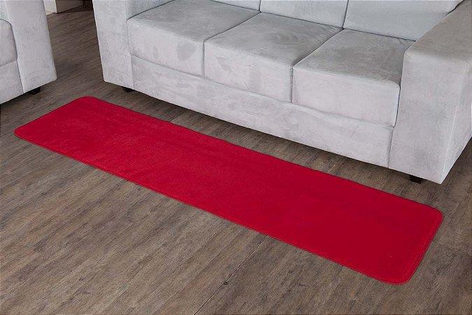 Tapete Passadeira Vermelha 2,00m x 52cm Base Feltro Antiderrapante