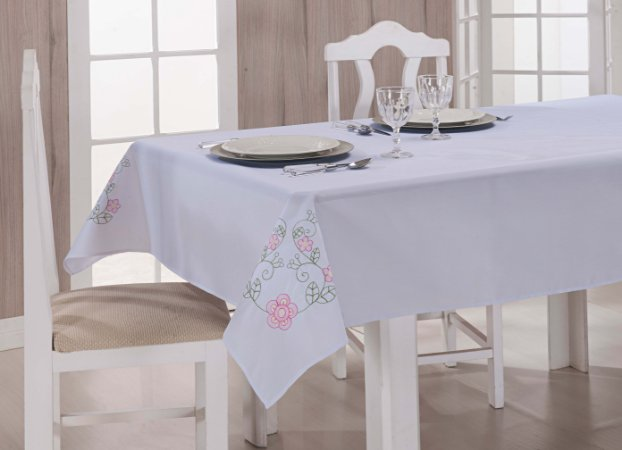 Toalha de Mesa Dália Tergal Verão Branca Pink 2,20m