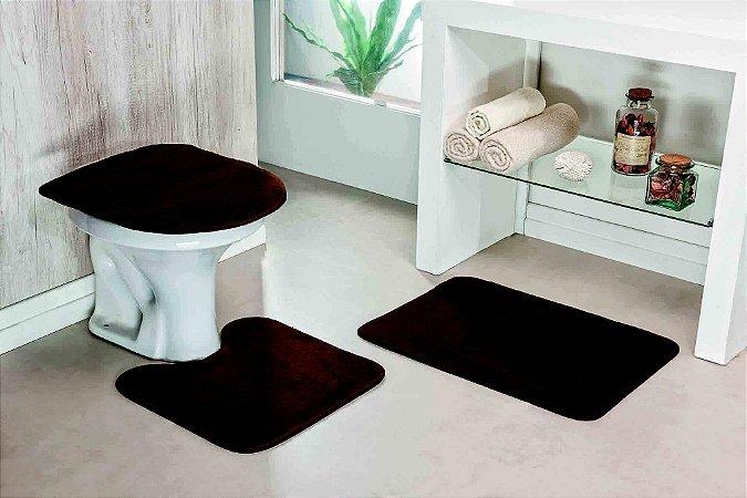 Kit Tapete de Banheiro Liso 3 Peças Antiderrapante Café