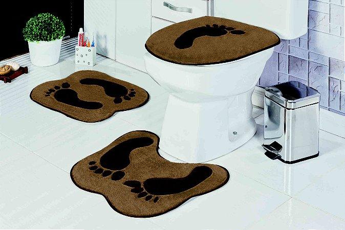 Kit Tapete de Banheiro Formato 3 Peças Antiderrapante Pegada Castor
