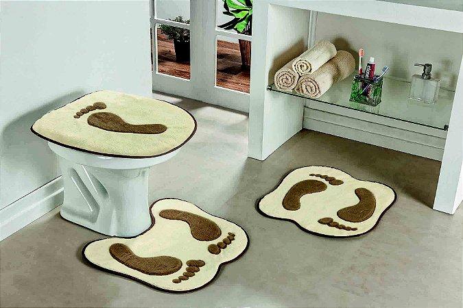 Kit Tapete de Banheiro Formato 3 Peças Antiderrapante Pegada Palha