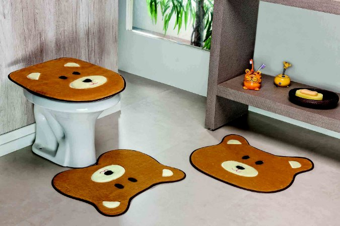Kit Tapete de Banheiro 3 Peças Antiderrapante Urso Caramelo