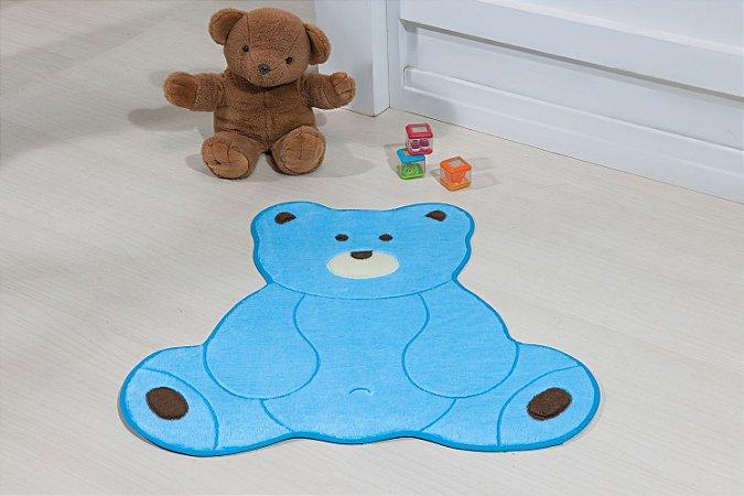 Tapete Formato Baby Antiderrapante Urso Fofo Azul Turquesa