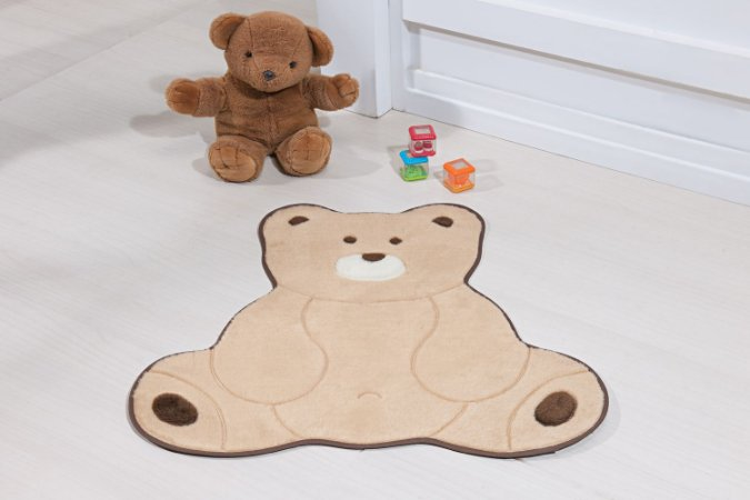 Tapete Formato Baby Antiderrapante Urso Fofo Bege
