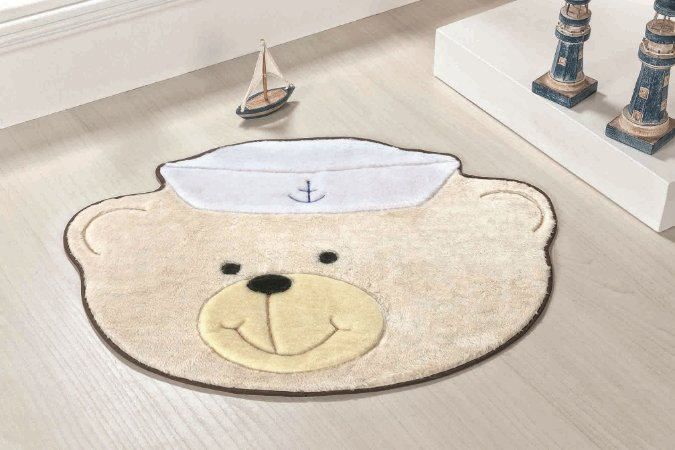 Tapete Formato Baby Antiderrapante Urso Marinheiro Palha