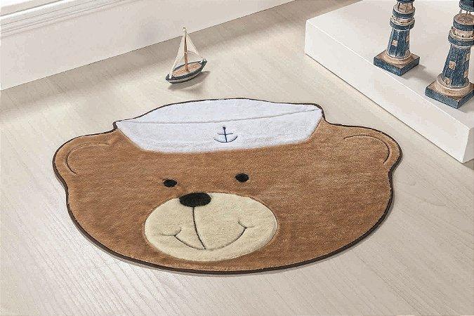 Tapete Formato Baby Antiderrapante Urso Marinheiro Bege