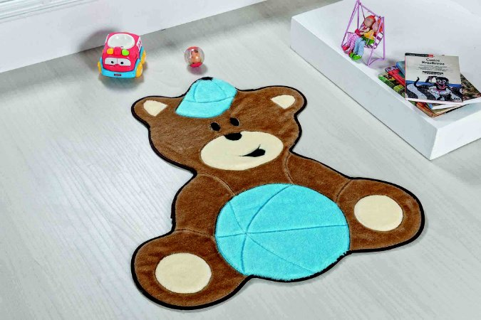 Tapete Formato Baby Antiderrapante Urso Baby Azul Turquesa