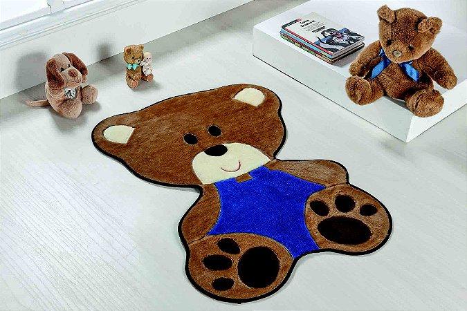Tapete Formato Baby Antiderrapante Bebê Urso Azul Royal
