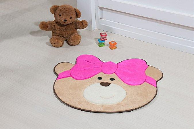Tapete Formato Baby Antiderrapante Ursinha Laço Pink