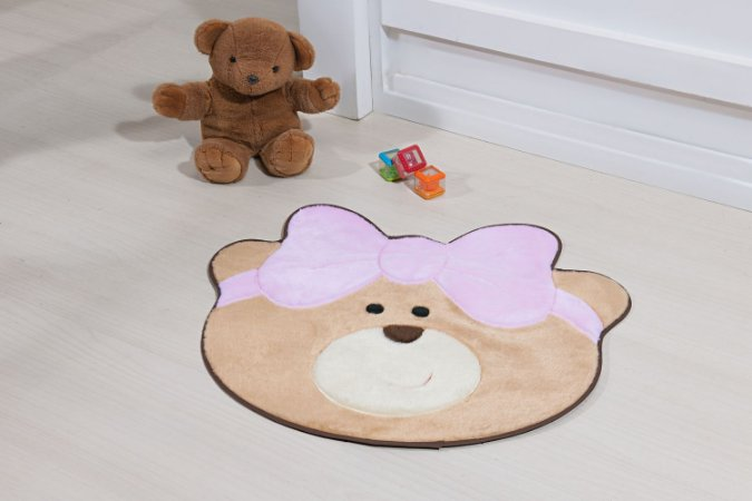 Tapete Formato Baby Antiderrapante Ursinha Laço Rosa