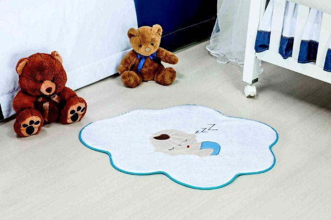 Tapete Formato Baby Antiderrapante Bebê Nuvem Azul Turquesa
