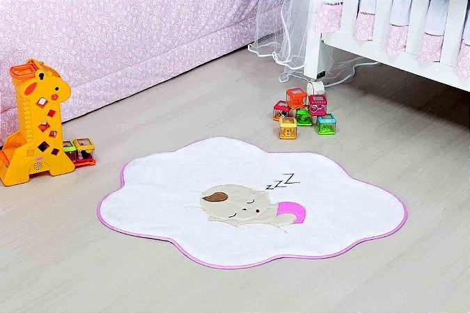 Tapete Formato Baby Antiderrapante Bebê Nuvem Rosa