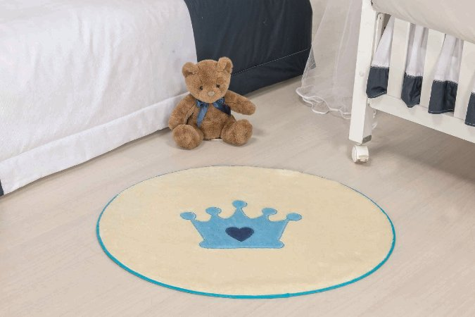 Tapete Formato Baby Antiderrapante Coroa Baby Azul Turquesa