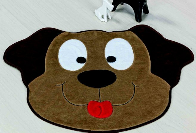 Tapete Formato Feltro Antiderrapante Cachorro Feliz Castor