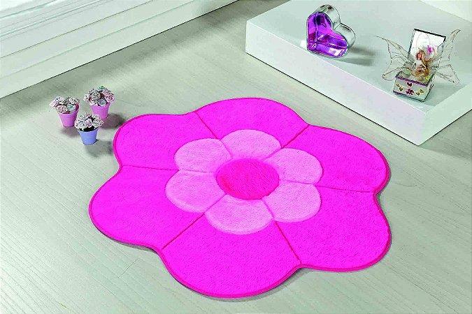 Tapete Formato Feltro Antiderrapante Margarida Dupla Pink