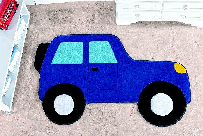 Tapete Formato Feltro Antiderrapante Carro Aventura Azul Royal