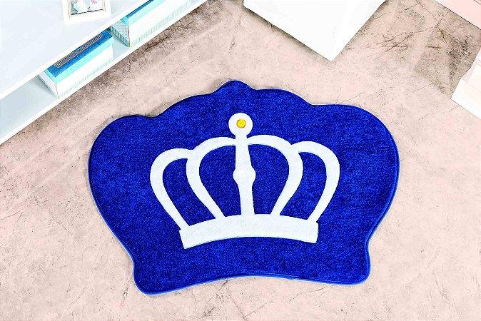 Tapete Formato Feltro Antiderrapante Coroa Azul Royal
