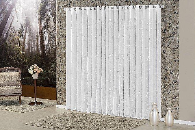 Cortina Quarto Sala Voil Romance Varão 3,00 x 2,70 Branca