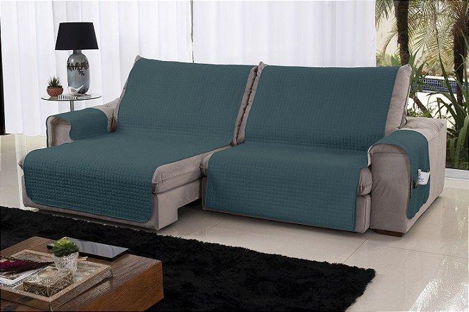 Xále Protetor Sofá Retrátil Reclinável Assento 1,60m Verde e Palha