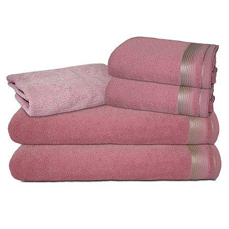 Jogo de Banho 5 peças Quasar Banhão -  Rosa Crochê