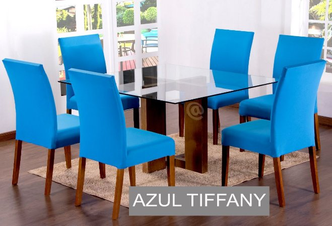 Kit Capa De Cadeira Lisa 6 Peças Azul Tifanny