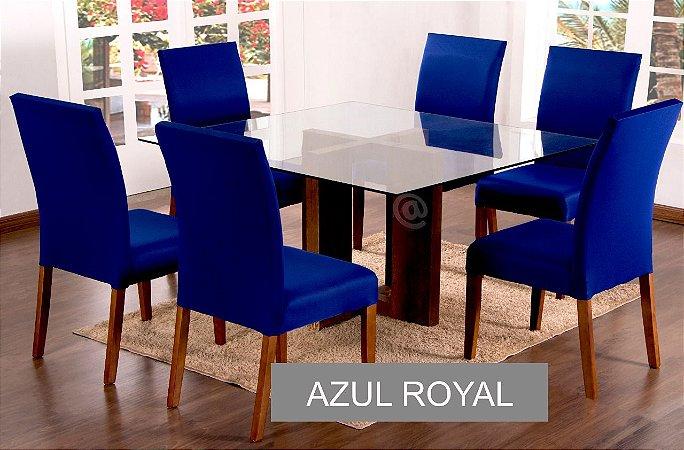 Kit Capa De Cadeira Lisa 6 Peças Azul Royal