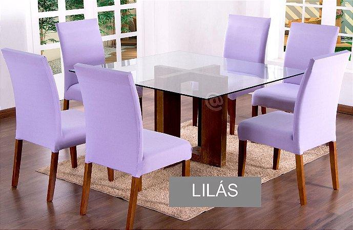 Kit Capa De Cadeira Lisa 6 Peças Lilás