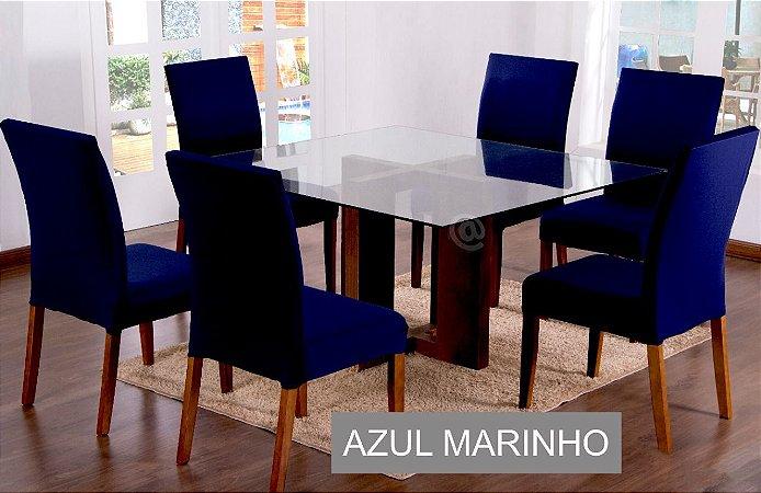 Kit Capa De Cadeira Lisa 6 Peças Azul Marinho