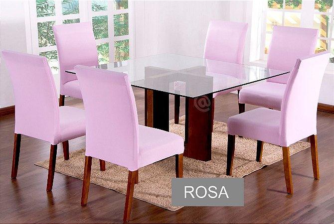 Kit Capa De Cadeira Lisa 6 Peças Rosa