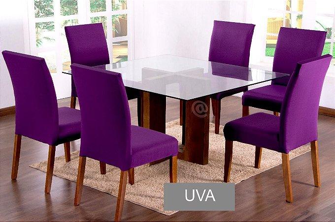 Kit Capa De Cadeira Lisa 6 Peças Uva