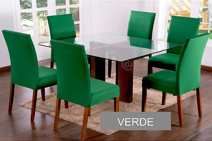 Kit Capa De Cadeira Lisa 6 Peças Verde
