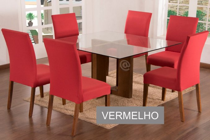 Kit Capa De Cadeira Lisa 6 Peças Vermelho