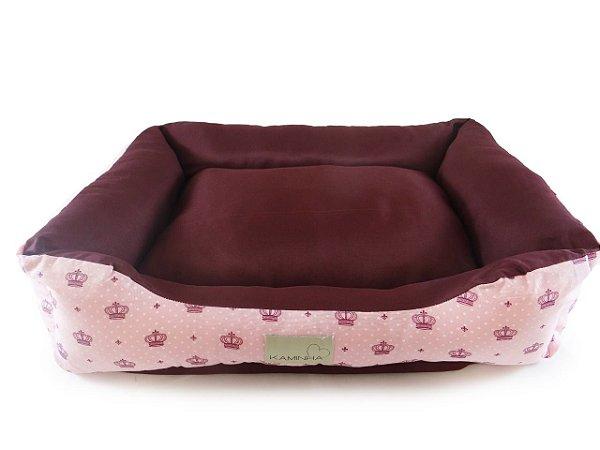 Cama Pet para Cachorro e Gato Dupla face Coroa Rosa Tamanho P