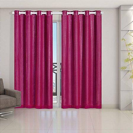 Cortina Blackout PVC prata com Voil 2,80 m x 2,30 m Pink