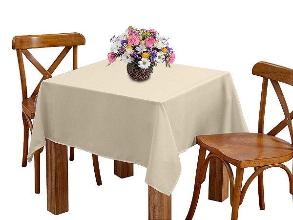 Toalha de mesa 4 Lugares 1,45m Quadrada Oxford Liso Bege