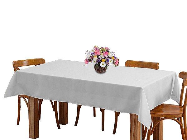 Toalha de mesa 6 Lugares 2,00m Retangular Oxford Liso Branca
