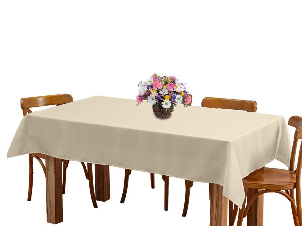 Toalha de mesa 8 Lugares 2,45m Retangular Oxford Liso Bege