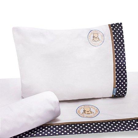 Jogo de Lençol de Berço 100% algodão Conforto Ursinho Azul